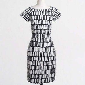 J. Crew Factory Dresses - J Crew White Black Short-sleeve Dress, 10